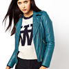 MuuBaa Carmona Clean Leather Jacket with Epaulettes in Blue