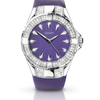Seksy by Sekonda Women's Quartz Watch with Mother of Pearl Dial Analogue Display and Purple Leat