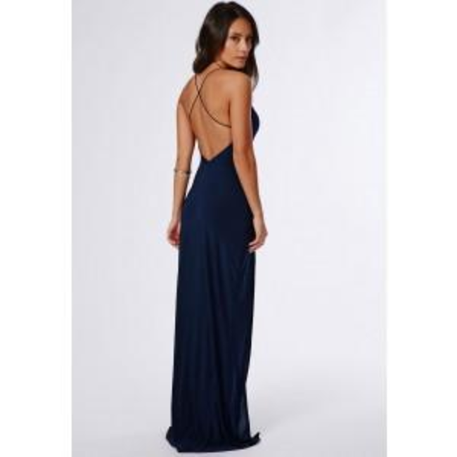 36f0bf33d5e3 Missguided - Nora Navy High Neck Maxi Dress