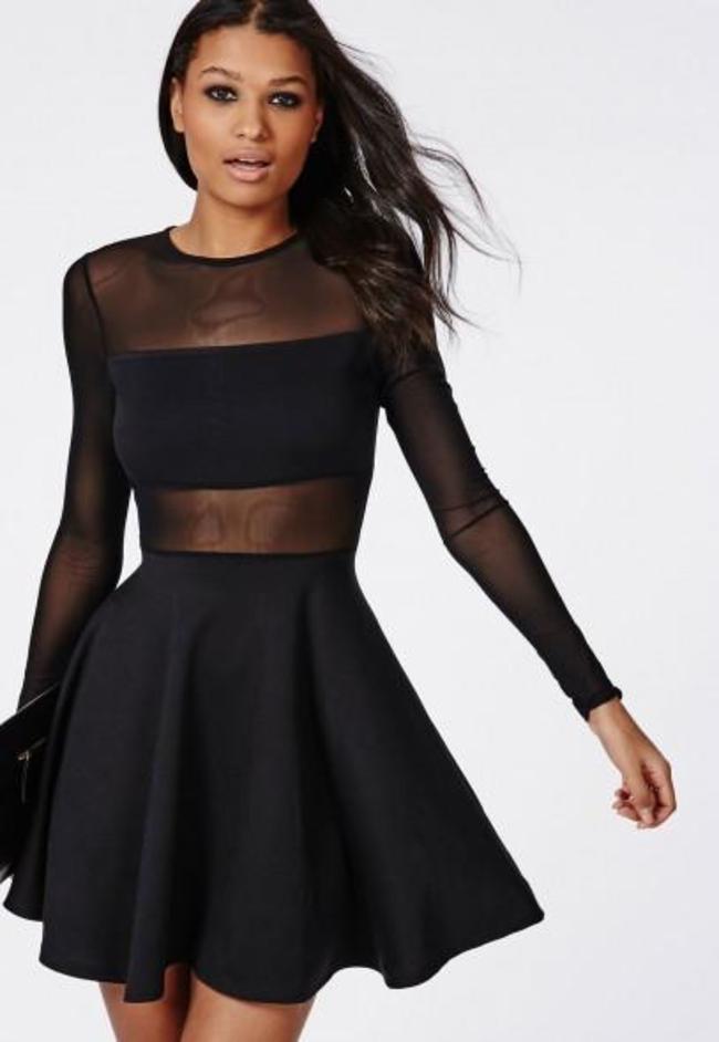 Missguided Mesh Insert Long Sleeve Skater Dress Black