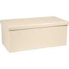 Extra Large Leather Effect Ottoman with Stitching - Cream
