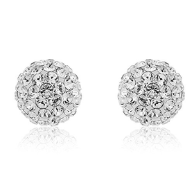 Ornami Glamour 9ct Yellow Gold 8mm Ladies' White Crystal Ball St...