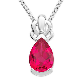 Byjoy 925 Sterling Silver Pear Shape Ruby Pendant on 45cm Cu...