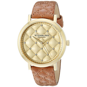 Stuhrling Original Audrey Women's Quartz Watch with Gold Dial Anal...