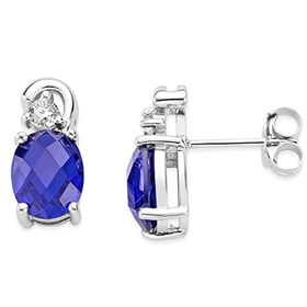 Byjoy 925 Sterling Silver Oval Shape Sapphire Stud Earrings B...