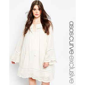 ASOS CURVE Embroidered Swing Dress With Tassels