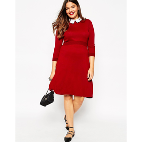 ASOS CURVE Knitted Skater Dress with Contrast Collar