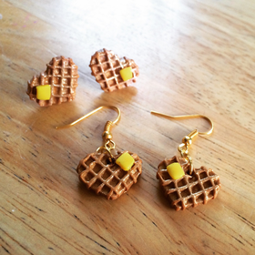 Sweet Heart Waffle Earrings - Waffle Earrings-Food Earrings-Waffle Jewelry-Waffles-Food Jewelry-Mini