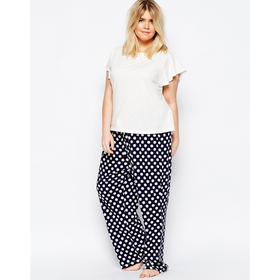 ASOS CURVE T-Shirt And Spotted Trouser Pyjama Set
