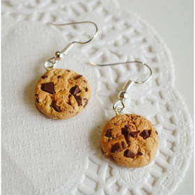 Scented Extra Chunky Chocolate Chip Cookie Earrings- Food jewelry