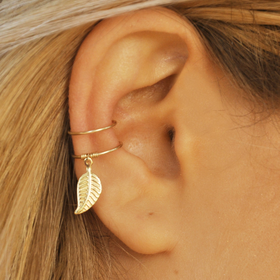 DOUBLE WRAP CUFF, Leaf Ear Cuff, Ear Cuff, Fake Piercing, No Piercing, Double Cuff, Cartilage Cuff,