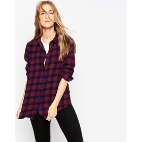 ASOS Boyfriend Shirt in Burgundy and Blue Check