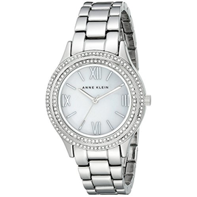 Anne Klein Women's Crystal-Accented Silver-Tone Watch