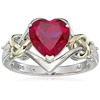 Sterling Silver and 14k Yellow Gold Diamond and Heart-Shaped Created Ruby Ring (0.03 cttw, I-J Color