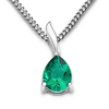 Byjoy 925 Sterling Silver Pear Shaped Emerald Pendant on a Curb Chain of 45cm BAE200N
