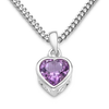 Byjoy 925 Sterling Silver Heart Shaped Amethyst Pendant on a Curb Chain of 45cm BAE282N
