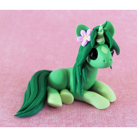 Green Unicorn with Flower