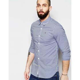 Hilfiger Denim Shirt in Gingham with Stretch in Slim Fit