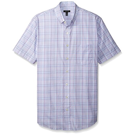 Van Heusen Men's Big-Tall Short Sleeve Luxe Touch Plaid Shirt