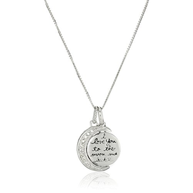 "Silver Diamond Accent Moon ""I Love You to the Moon and Back"" ..."