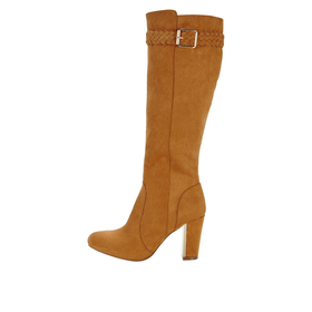 Shoe Box Calverly Imi Suede Boho Heeled Knee Boot Plait Detail