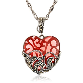 Sterling Silver Marcasite and Glass Heart Pendant Necklace