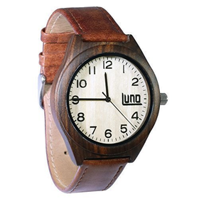 Luno Wear Men's Wood Watch, Wood and Genuine Leather, The...