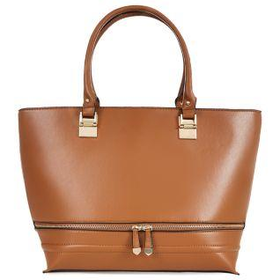 Tan Double Zip Tote Bag