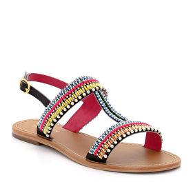 Multi-Coloured Beaded Sandals with Strap and Metal Buckle