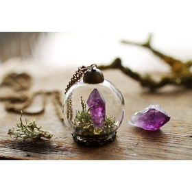 Amethyst Crystal Necklace Terrarium