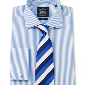 Blue White Bengal Stripe Poplin Slim Fit Shirt