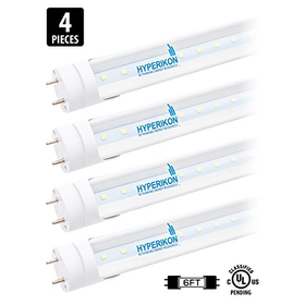 Hyperikon 6FT T8 LED Tube 28W (65W Equiv.), Crystal White)