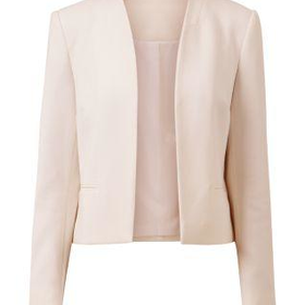 Shell Pink Pocket Front Cropped Blazer