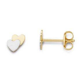 Miore MK9017E Children's 9 ct Two Colour Gold Heart Stud Earrings