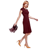 HotSquash Burgundy Cap Sleeve Wrap Dress in Easycare Fabric