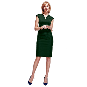 HotSquash Bottle Green Kensington V Cut Dress in Clever Fabric