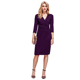 HotSquash Damson V Neck Mock Wrap Thermal Dress
