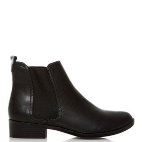 Black Low Block Heel Chelsea Boots