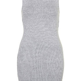 Ribbed Pini Bodycon Tunic - Light Grey