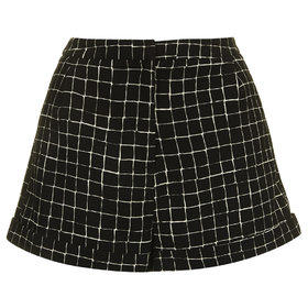 Grid Print Turn-Up Shorts - Black