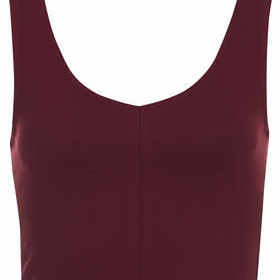 V-Neck Ponte Crop Top - Berry Red