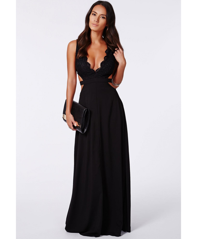 f14c7fd6a23e Missguided - Bakiya Black Lace Cut Out Maxi Dress