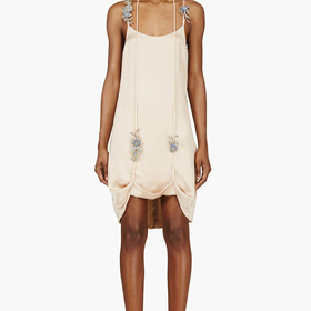 Christopher Kane Blush Pink Satin And Gem Lift-hem Cami Dress