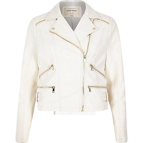 River Island Womens White leather-look zip biker jacket