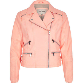 River Island Womens Coral leather-look zip biker jacket