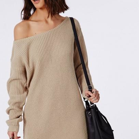 Missguided - Ayvan Slash Neck Knitted Dress Light Stone
