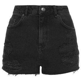 PETITE MOTO Black Ripped Mom Shorts - Black