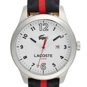 Men's Lacoste 'Auckland' Round Nylon Strap Watch, 44mm - Black/ Red