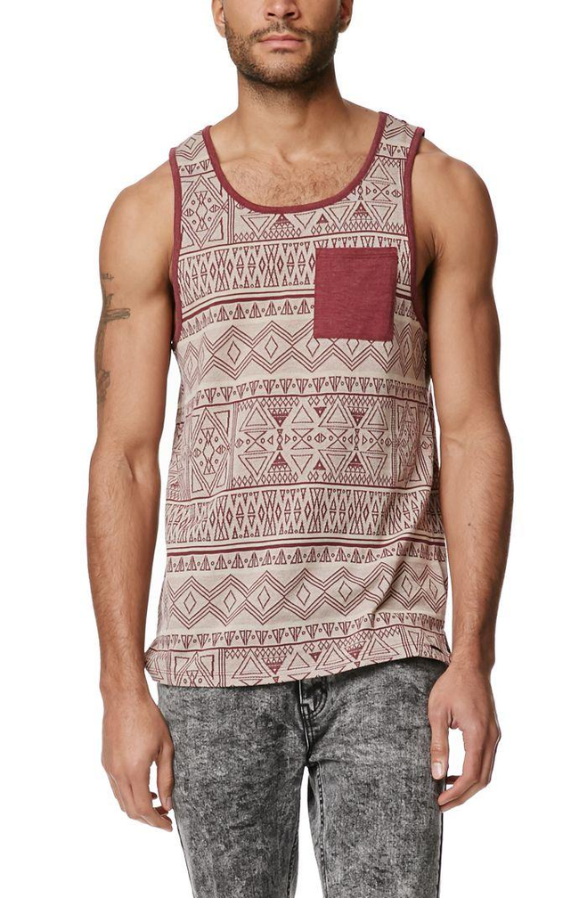 On The Byas Matt Skinny Jacquard Tank Top - Mens Tee - Brown ... 81aa945bee4e