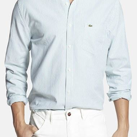 Men's Lacoste Regular Fit Bengal Stripe Oxford